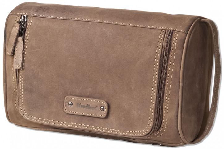 Woodland® Große Kulturtasche aus weichem, naturbelassenem Büffelleder in Dunkelbraun/Taupe