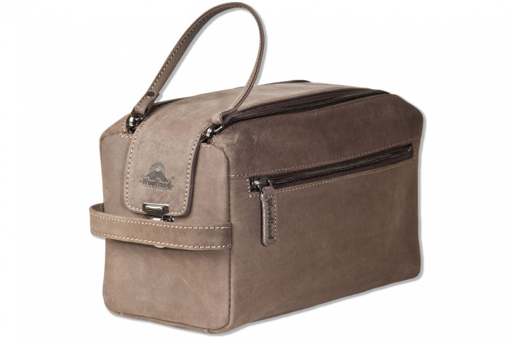 Woodland® Large Wash Bag in Soft, Natural Buffalo Leather in Dark Brown/Taupe