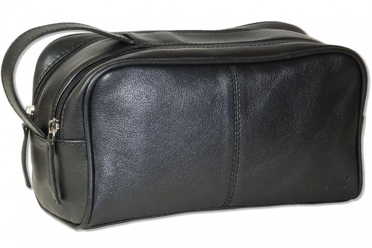 Rimbaldi® - Kulturtasche mit 2 großen Reißverschlussfächern aus weichem Rind-Nappaleder in Schwarz