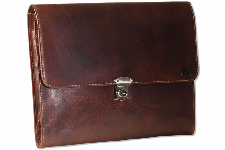 Woodland® Dokumentenmappe/Aktentasche aus hochwertigem Rindsleder in Multicolor/Cognac