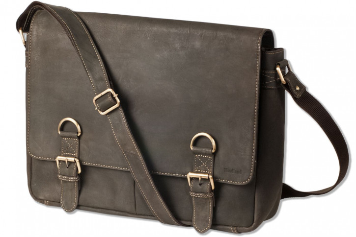 Woodland® Luxus-Umhängetasche mit extra Notebooktasche aus naturbelassenem Büffelleder in Dunkelbraun/Taupe