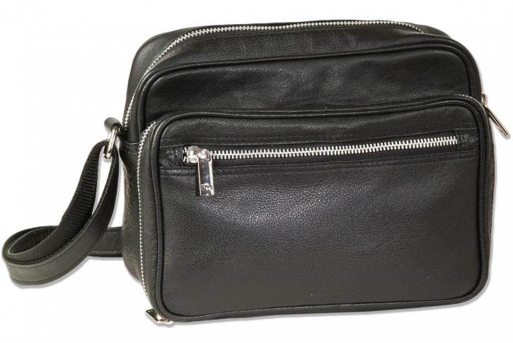 Rimbaldi®  Luxus Umhängetasche aus hochwertigem Rind-Nappaleder in Schwarz