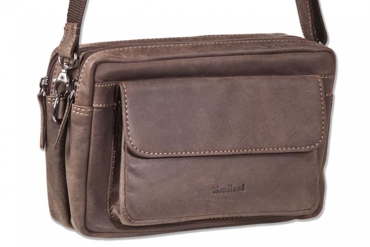 Woodland® Luxus-Handgelenk/Umhängetasche aus naturbelassenem Büffelleder in Dunkelbraun/Taupe