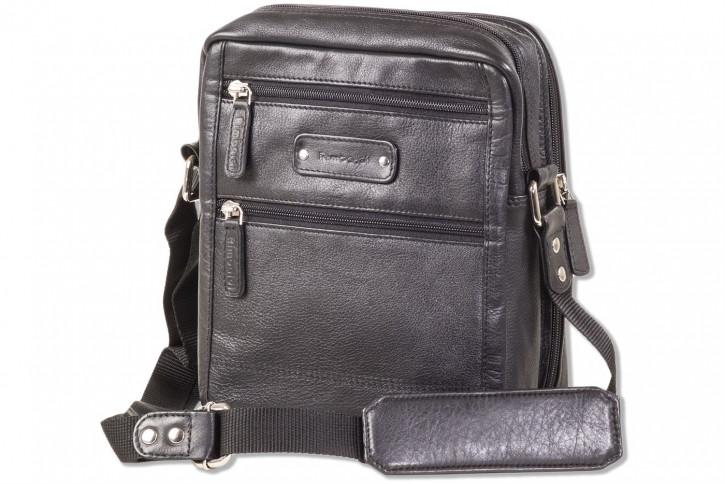 Rimbaldi® Moderne Umhängetasche mit mobilem Büro aus weichem, hochwertigem Rind-Nappaleder in Schwarz