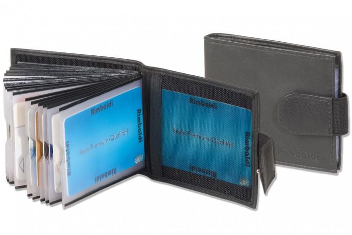 Rimbaldi® Kreditkartenetui für 18 Kreditkarten oder 36 Visitenkarten aus weichem, naturbelassenem Rindsleder in Schwarz