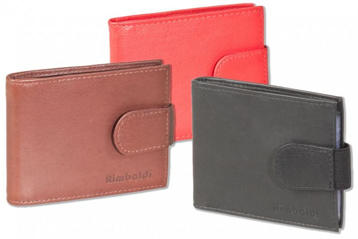 Rimbaldi® Kreditkartenetui für 14 Kreditkarten oder 26 Visitenkarten aus weichem, naturbelassenem Rindsleder in Schwarz