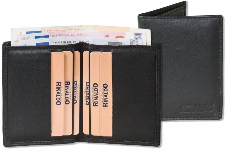 Rinaldo® Kreditkartenetui mit mit dem Protecto® RFID/NFC-Blocker Schutz und Geldscheintasche aus weichem Rind-Nappaleder in Schwarz