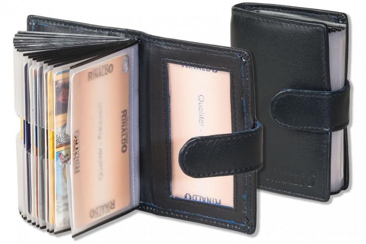 Rinaldo® XXL-Kreditkartenetui für insgesamt 19 Kreditkarten aus weichem, naturbelassenem Rindsleder in Dunkelblau