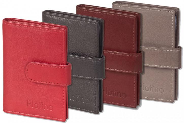 Platino XXL-Kreditkartenetui mit 19 Kartenfächern aus weichem, naturbelassenem Rindsleder