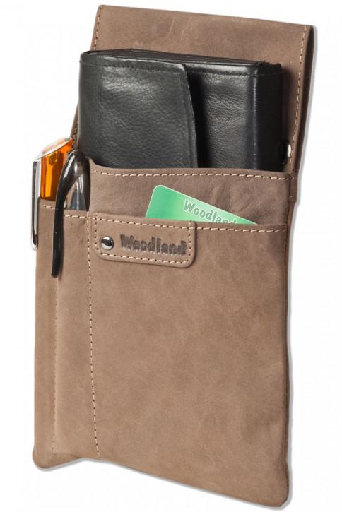 Woodland® Sehr robustes Profi-Kellnerbörsen-Holster aus weichem, naturbelassenem Büffelleder in Dunkelbraun/Taupe
