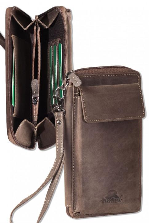 Woodland® Moderne Handgelenktasche aus naturbelassenem Büffelleder in Dunkelbraun/Taupe