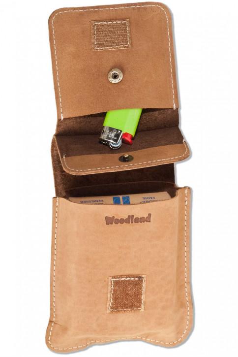 Woodland® Zigaretteneschachtel-Etui für große Schachteln aus naturbelassenem Büffelleder in Cognac