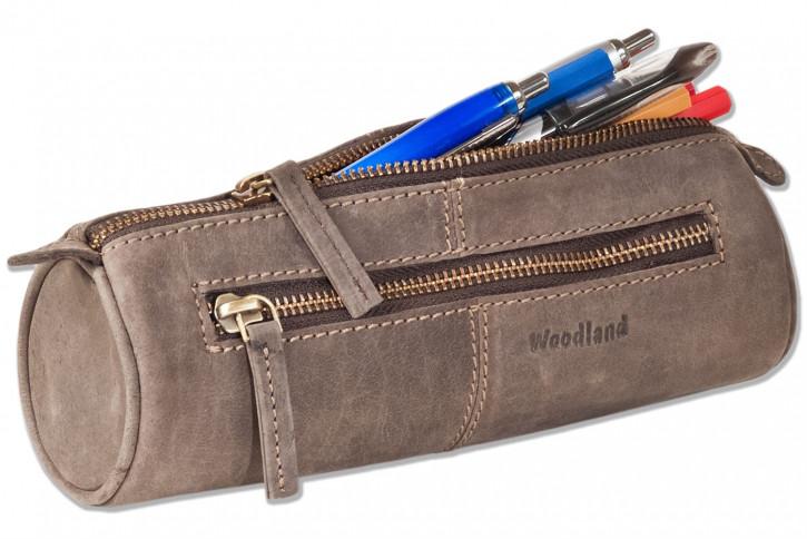 Woodland® Schreibgeräte-Rolle aus weichem, naturbelassenem Büffelleder in Dunkelbraun/Taupe