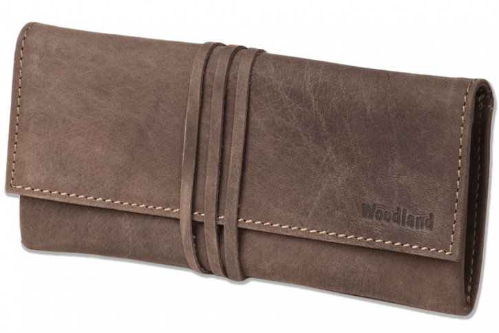 Woodland® writing instrument folder made of soft, natural buffalo leather in dark brown/taupe