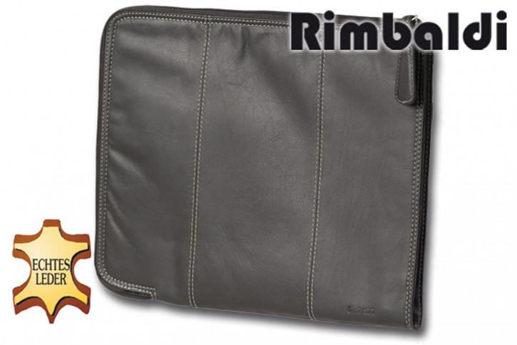 Rimbaldi® Große Universal Dokumentenmappe aus weichem, Rind-Nappaleder in Schwarz