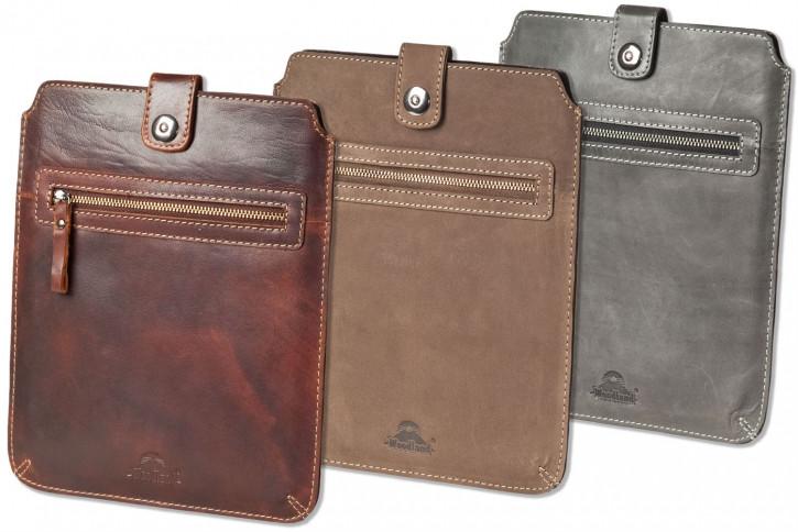 Woodland® Hochwertige Ledertasche für Computer-Tablets aus weichem, naturbelassenem Büffelleder in Dunkelbraun/Taupe