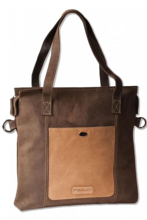 Woodland® Leder-Shopper/Umhängetasche aus naturbelassenem Büffelleder in Dunkelbraun/Taupe