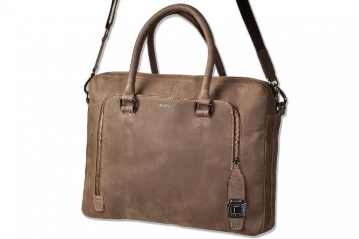 Woodland® Laptoptasche/Aktentasche aus naturbelassenem, weichem Büffelleder in Dunkelbraun/Taupe