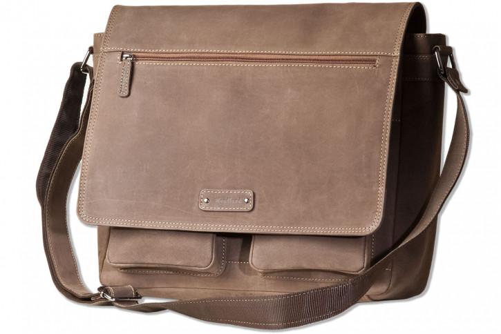 Woodland® Große Universaltasche mit Computerfach aus naturbelassenem Büffelleder in Dunkelbraun/Taupe