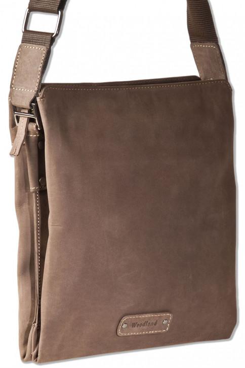 Woodland® Umhängetasche mit Tabletfach aus naturbelassenem Büffelleder in Dunkelbraun/Taupe