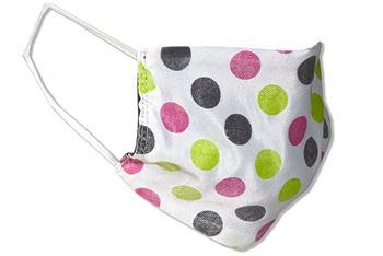 Komfort-Alltagsmaske aus hochwertigem Material und mit besonders elastischen Gummischlaufen - Design: Weiß mit bunten Kreisen