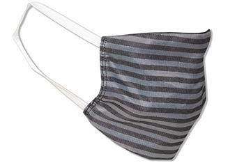 Komfort-Alltagsmaske aus hochwertigem Material und mit besonders elastischen Gummischlaufen - Design: Streifen Hellgrau/Schwarz