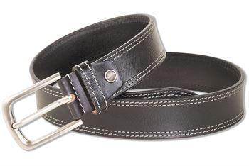 Rimbaldi - Ledergürtel mit massiver Metallschnalle aus 100% Voll-Büffelleder  in Schwarz mit Doppelnaht in Hellgrau