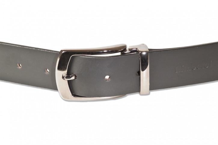 Rimbaldi® Voll-Ledergürtel mit masssiver Metallschnalle glattes Büffel-Spaltleder in Schwarz
