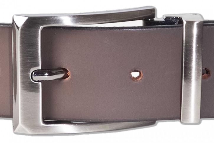 Rimbaldi® Voll-Ledergürtel mit massiver Metallschnalle in Altmessing-Optik und glattem Büffelleder in Matt/Dunkelbraun