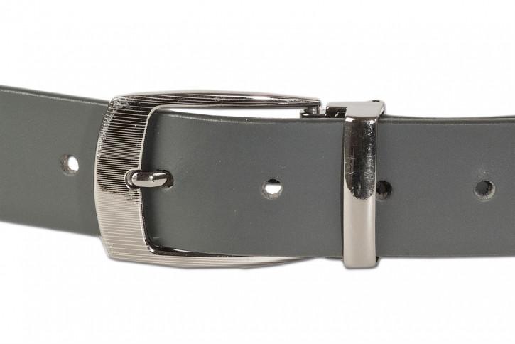 Voll-Ledergürtel mit masssiver Metallschnalle aus glattem Büffelleder in Schwarz/Matt