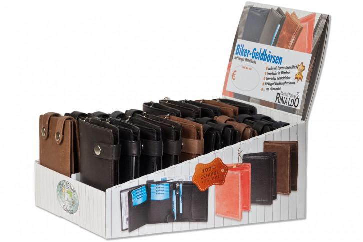 Rinaldo® Displaykarton mit 20 Bikerbörsen mit Kette im Hoch- und Querformat in sortierten Farben aus naturbelassenem Rindsleder