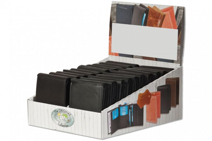 Rinaldo® Displaykarton mit 20 Riegel-Lederbörsen im Querformat und 4 verschiedenen XXXL-Hartgeldfächern in Schwarz