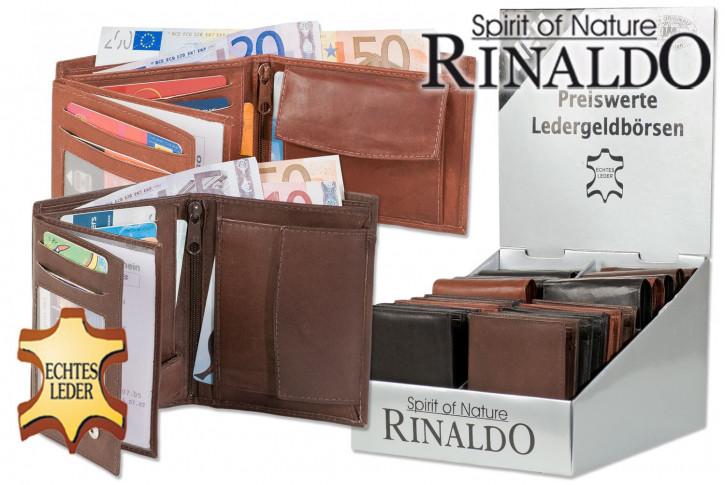 Rinaldo® Displaykarton mit 20 Riegel-Nappalederbörsen im Hoch- und Querformat in sortierten Farben aus Nappa-Ziegenleder