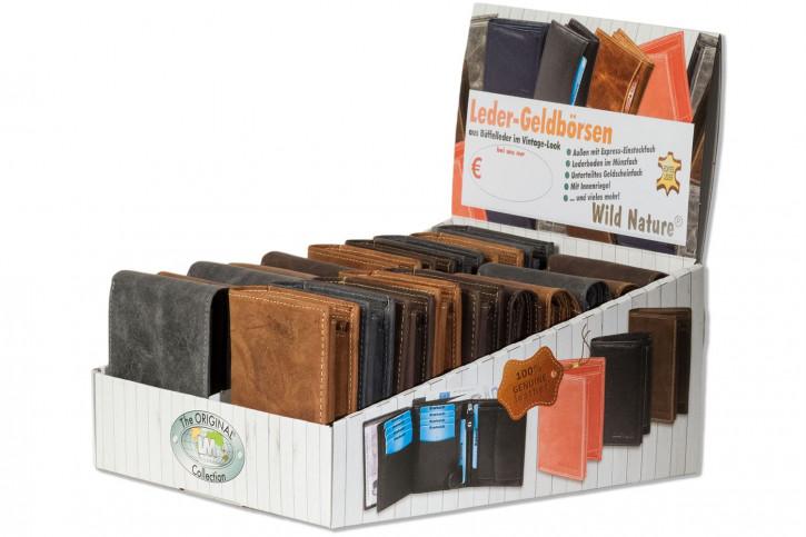 Wild Nature® Displaykarton mit 20 Riegel-Rindslederbörsen im Quer- und Hochformat in sortierten Farben aus naturbelassenem Büffelleder im Vintage-Look