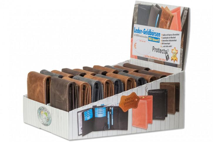 Wild Nature® Displaykarton mit 20 Querformat Lederbörsen und mit Protecto® RFID-Blocker aus naturbelassenem Büffelleder im Vintage-Look
