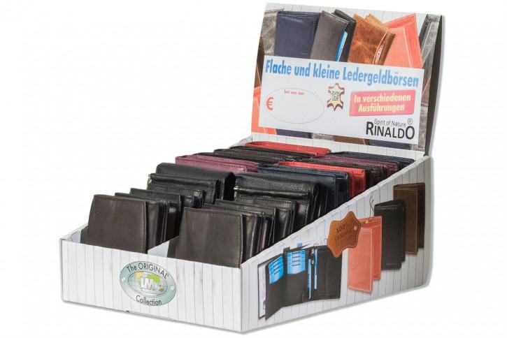 Protecto® Displaykarton mit 20 Riegel-Rindslederbörsen im Hoch- und Querformat in Schwarz aus naturbelassenem Rindsleder