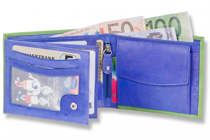 13 Stück-Sortiment Rinaldo® Riegelgeldbörsen im Hoch-und Querformat aus weichem Rindsnappaleder