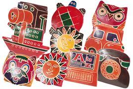 Handbemalte Kinder-Faltbörsen aus Leder mit 10 verschiedenen Motiven aus echtem Ziegenleder (Sortierung 2)