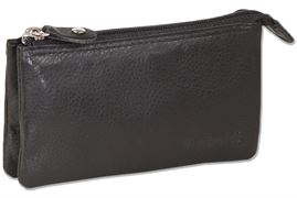 Rimbaldi®Double compartment key pocket with separate compartments made of natural cow leather in black