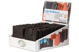 Rinaldo® Displaykarton mit 20 Geldbörsen im Hoch- und Querformat aus glattem Rindsleder in Dunkelbraun und Schwarz