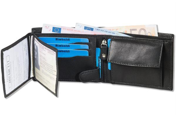Rimbaldi® Riegelgeldbörse im Querformat aus besonders weichem Nappa-Rindsleder in Schwarz