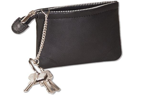 Rimbaldi® Doppel-Schlüsseltasche für den Autoschlüssel und normale Schlüssel mit besonders hochwertigem Rindsleder in Schwarz
