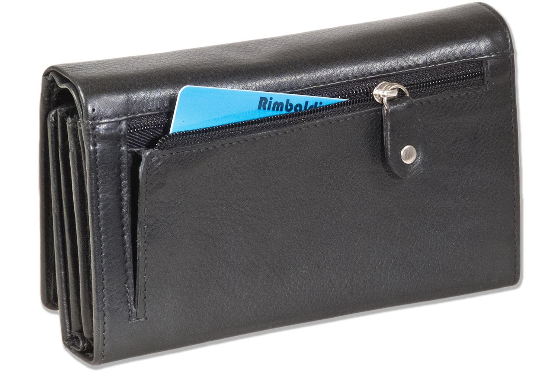 Rimbaldi® Damen Geldbörse mit viel Platz aus naturbelassenem Leder in Schwarz