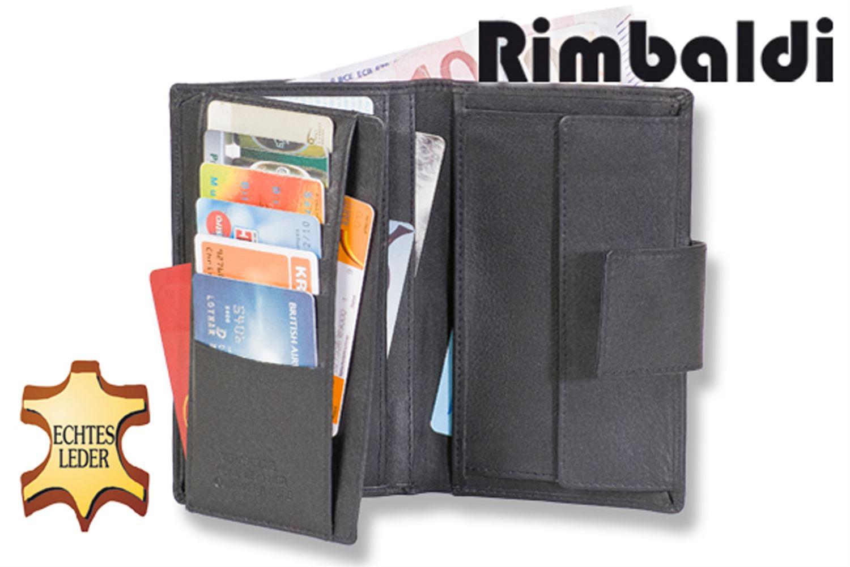 Rimbaldi® Kleine Geldbörse mit großem Geldscheinfach in Schwarz aus feinem Leder