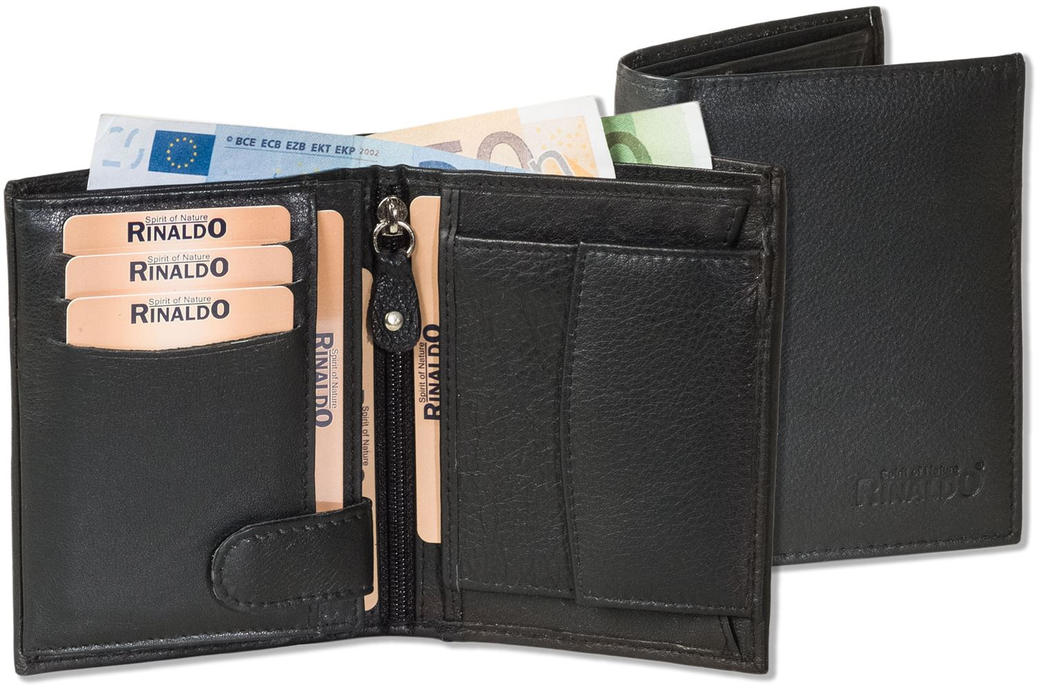 Rinaldo Leather Purse in Black with outside bar and Leather IN