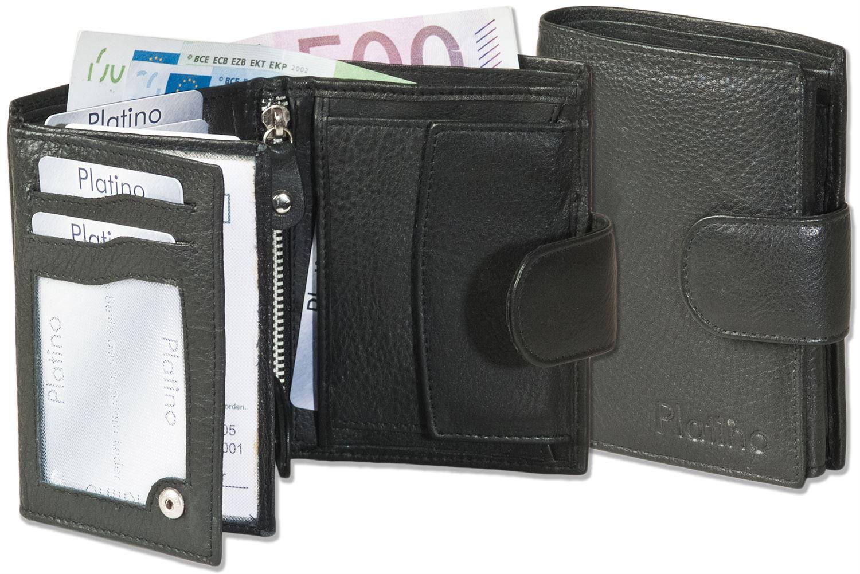 Platino Geldbörse aus bestem Nappa-Leder mit Außenriegel in Schwarz