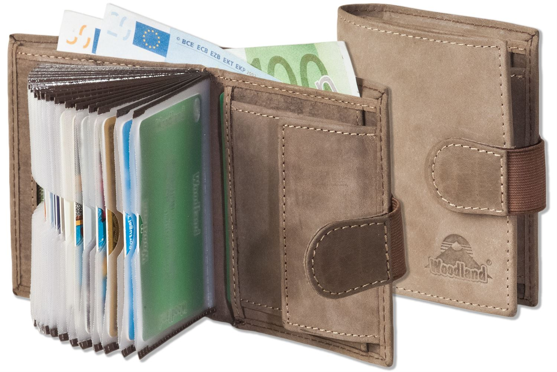 Woodland compacte porte-monnaie avec XXL-carte de crédit poches en Cuir Véritable Vintage-look