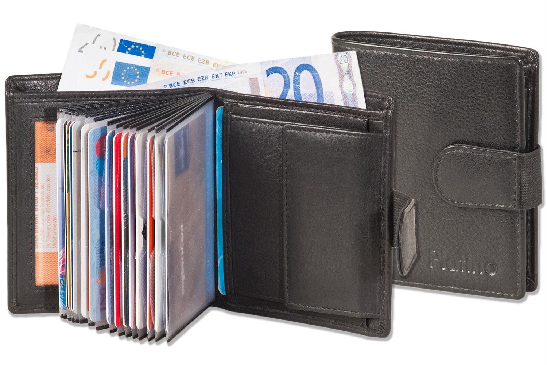 610d031c2ad6d Platino Kompakte Geldbörse mit vielen Kartenfächern aus feinem Leder ...