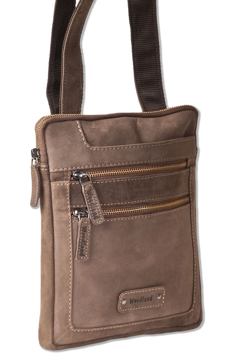 Woodland® natural buffalo leather shoulder bag in dark brown   taupe-6842907 188a1865ea93b