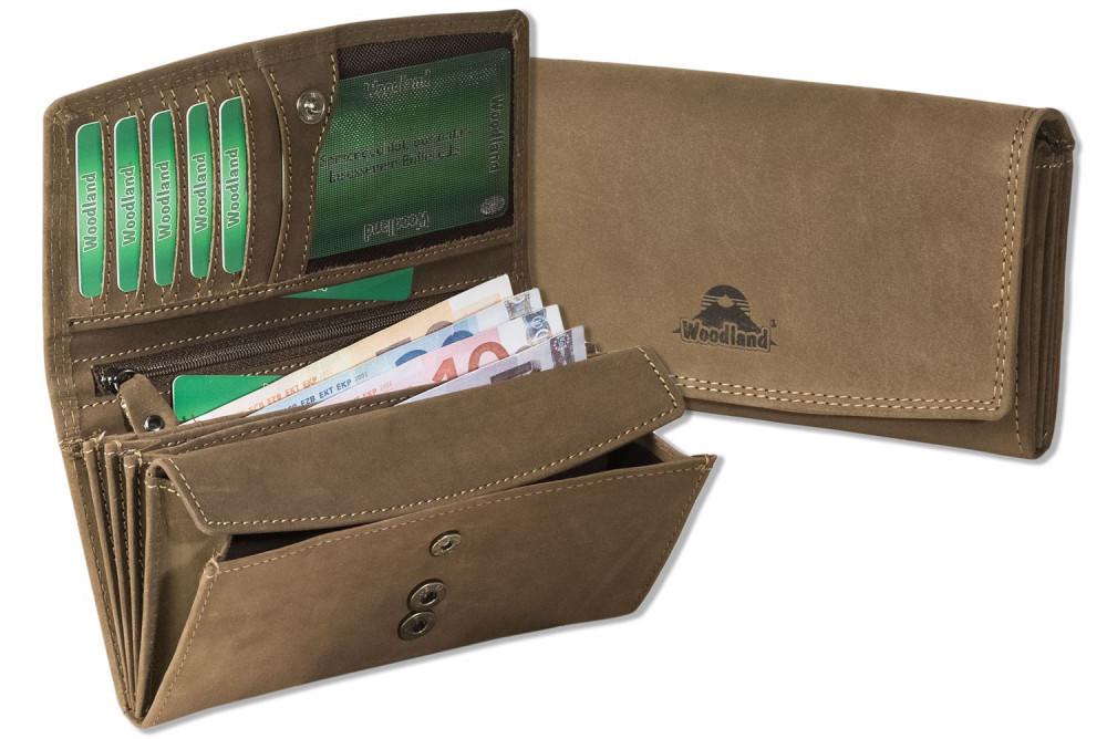 Woodland® Große Ledergeldbörsen für Damen mit dem Protecto® RFID/NFC-Blocker Schutz aus Büffelleder in Dunkelbraun/Taupe
